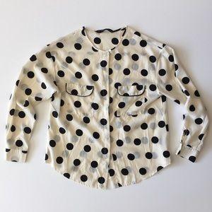 Zara Basic Off White & Black Polka Dot Top Size L